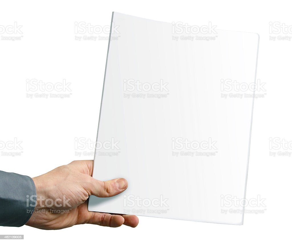 blank magazine cover in the hand isolated on white stock photo
