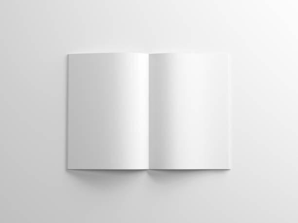 blank magazine mockup on white background, album or brochure - magazine mockup stock photos and pictures