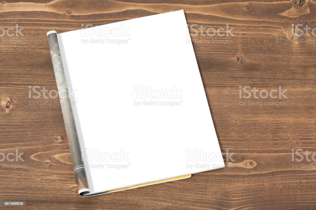 Blank magazine on wooden background stock photo