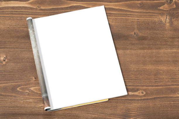 blank magazine on wooden background - magazine stock photos and pictures
