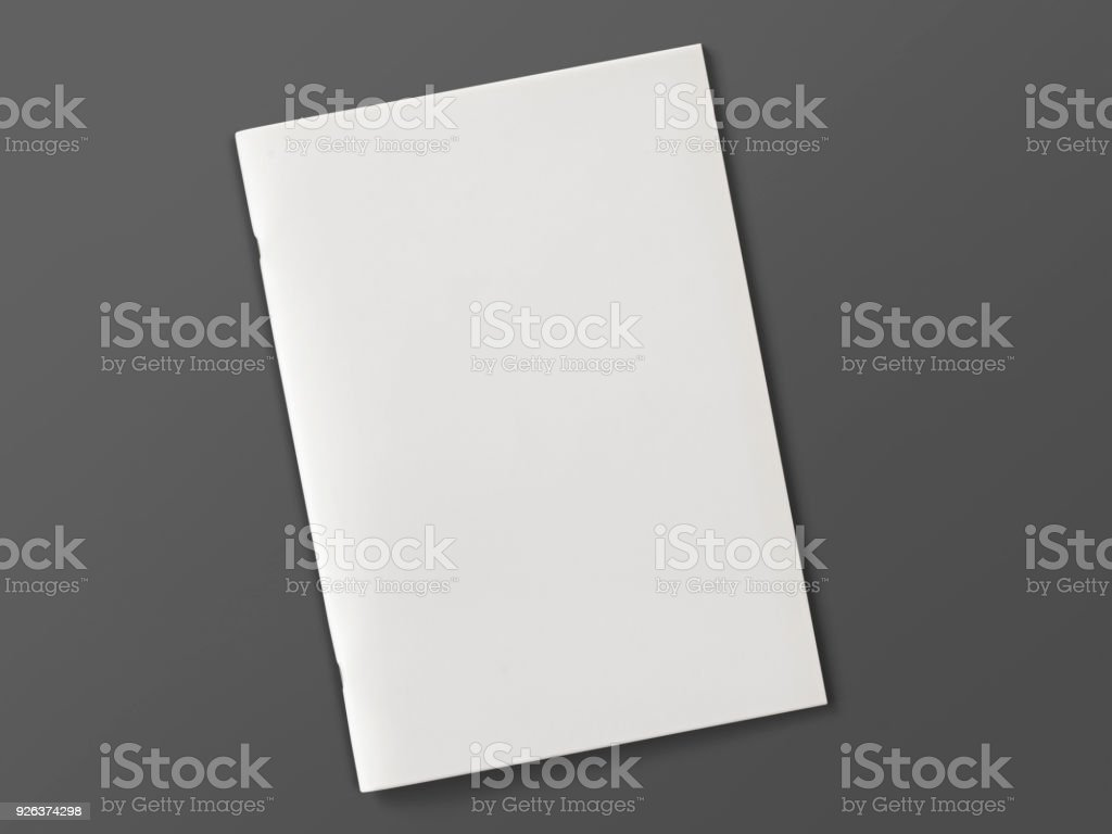 Blank Magazine or Brochure isolated on grey. 3d illustration. stock photo