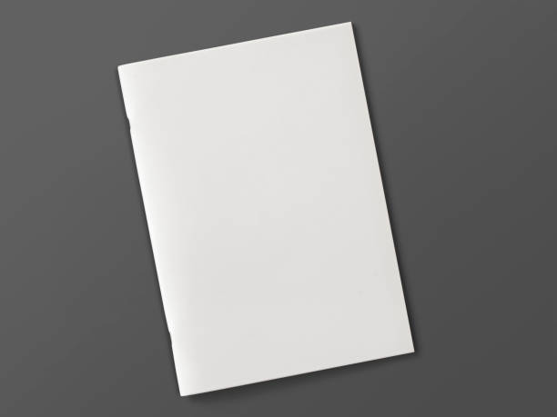 blank magazine or brochure isolated on grey. 3d illustration. - magazine cover stock photos and pictures