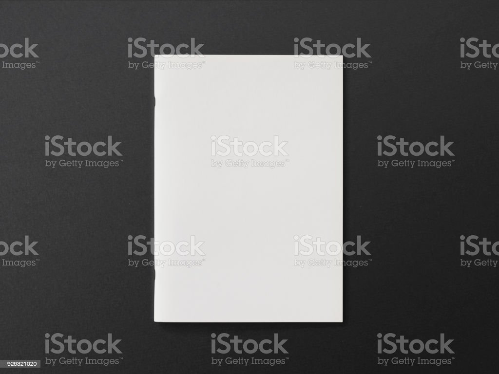 Blank Magazine or Brochure on textured paper. Front cover top view. Template concept for your showcase. stock photo