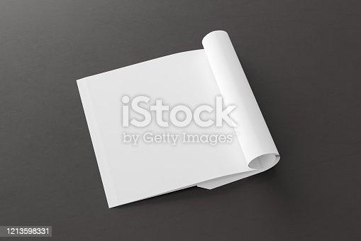 839809942 istock photo Blank magazine page. Workspace with folded magazine mock up on the desk. 1213598331