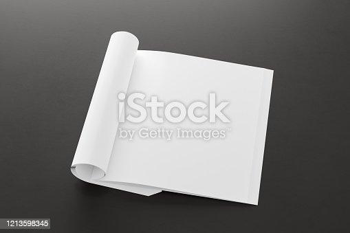 839809942 istock photo Blank magazine page. Workspace with folded magazine mock up on the desk. 1213598345