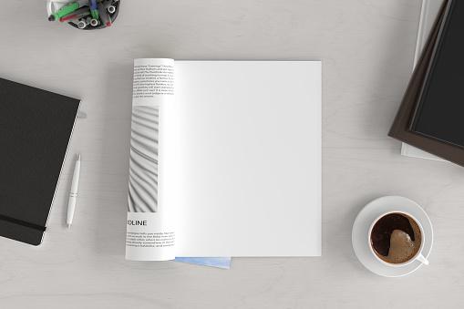 Blank magazine page. Workspace with magazine mock up
