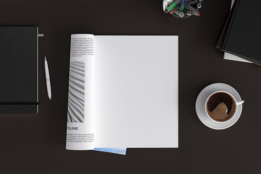 Blank magazine page. Workspace with magazine mock up