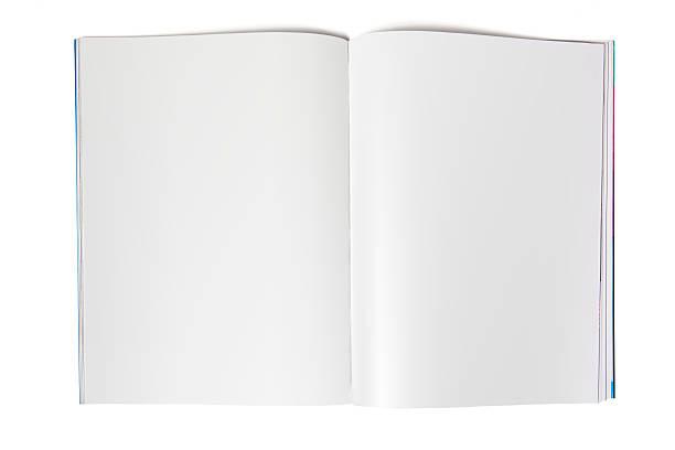 leere magazin sich auf weiß - zeitschrift aufgeschlagen stock-fotos und bilder