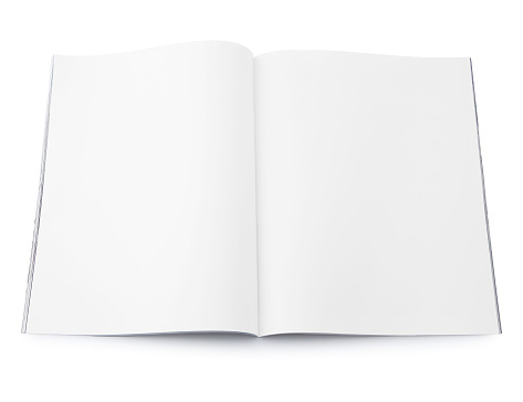 Blank Open Magazine Spread isolated on white (excluding the shadow)