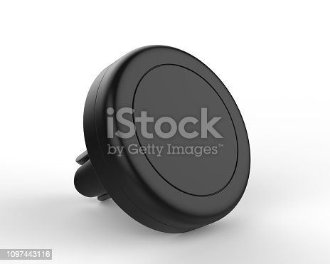 istock Blank Magnetic Car Air Vent Cell Phone Holder Car Mount Mobile Holder. 3d render illustration. 1097443116