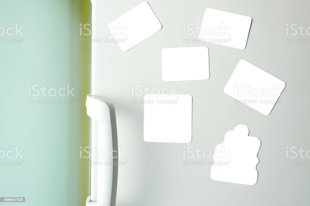 Blank Magnets on Refrigerator+(Clipping Path) stock photo