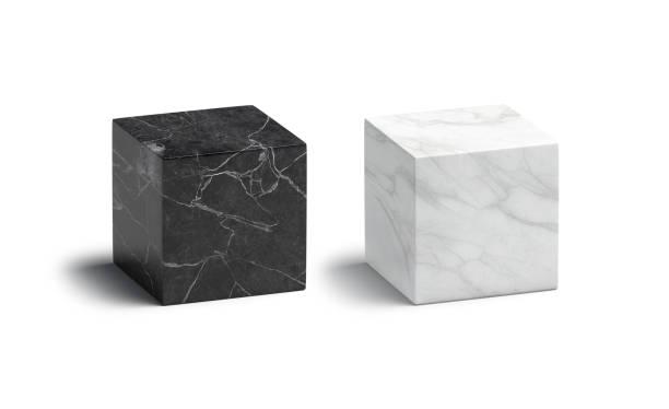 Blank marble black and white cube mockup set stock photo