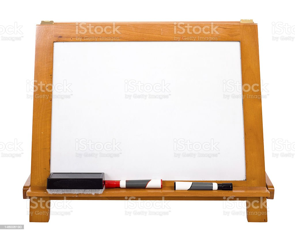 Blank Markerboard on white stock photo