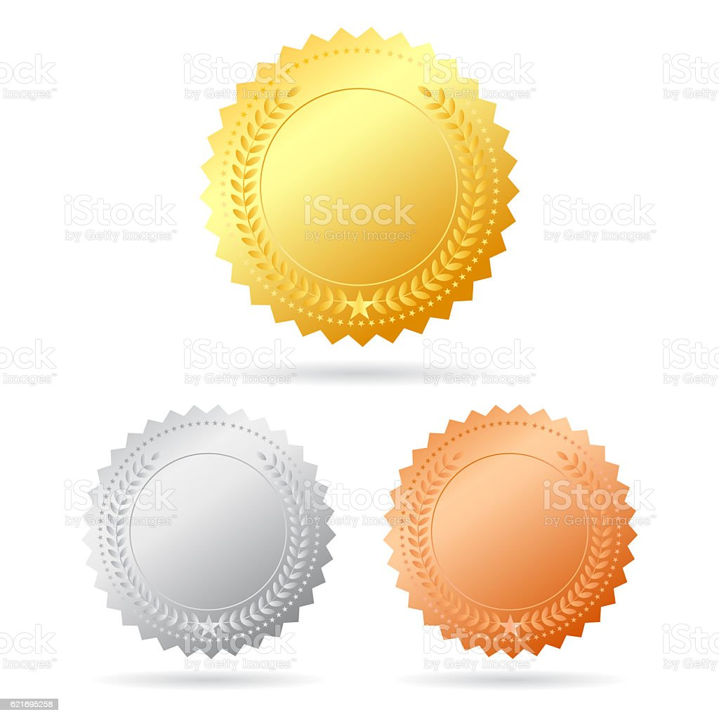 Blank medals set stock photo