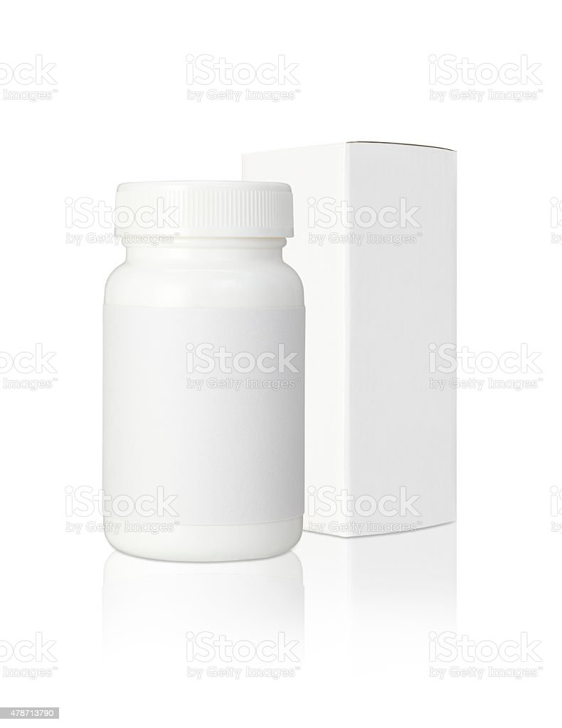 Blank medicine bottle and blank paper package box stock photo