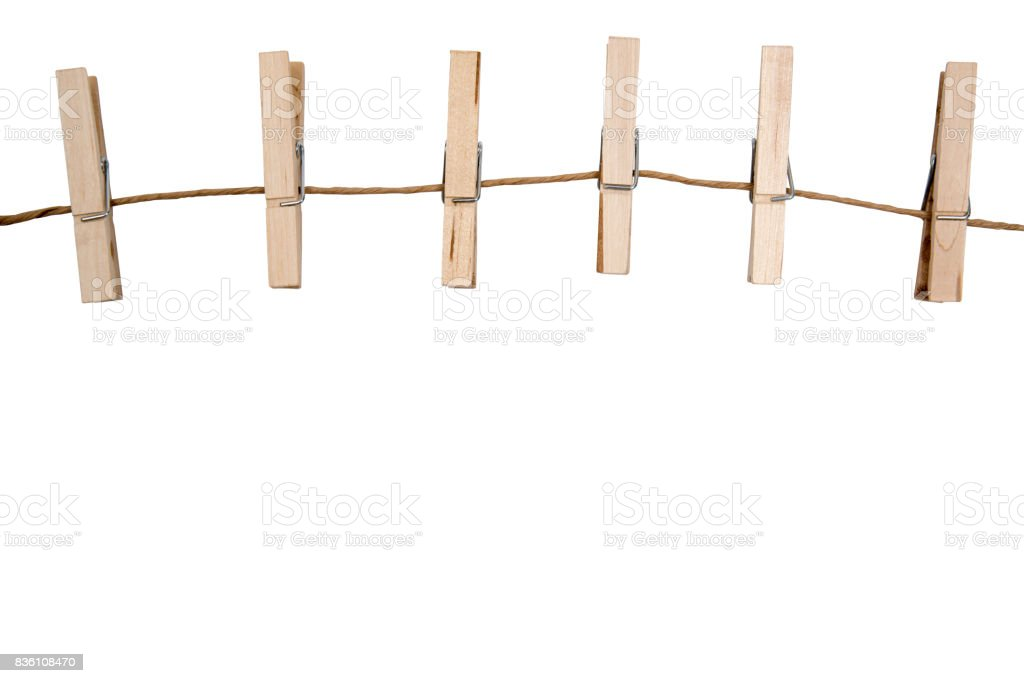 blank memo papers on rope with Clothespins, on white backgrounds, isolated. stock photo