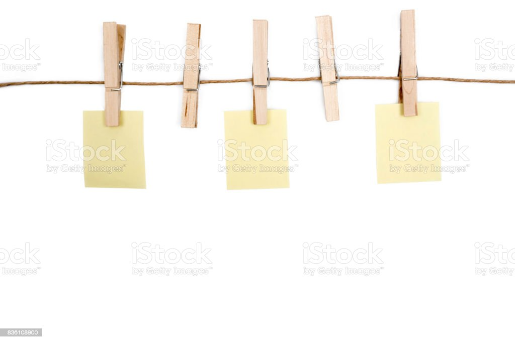 Blank Memo Papers On Rope With Clothespins On White Backgrounds
