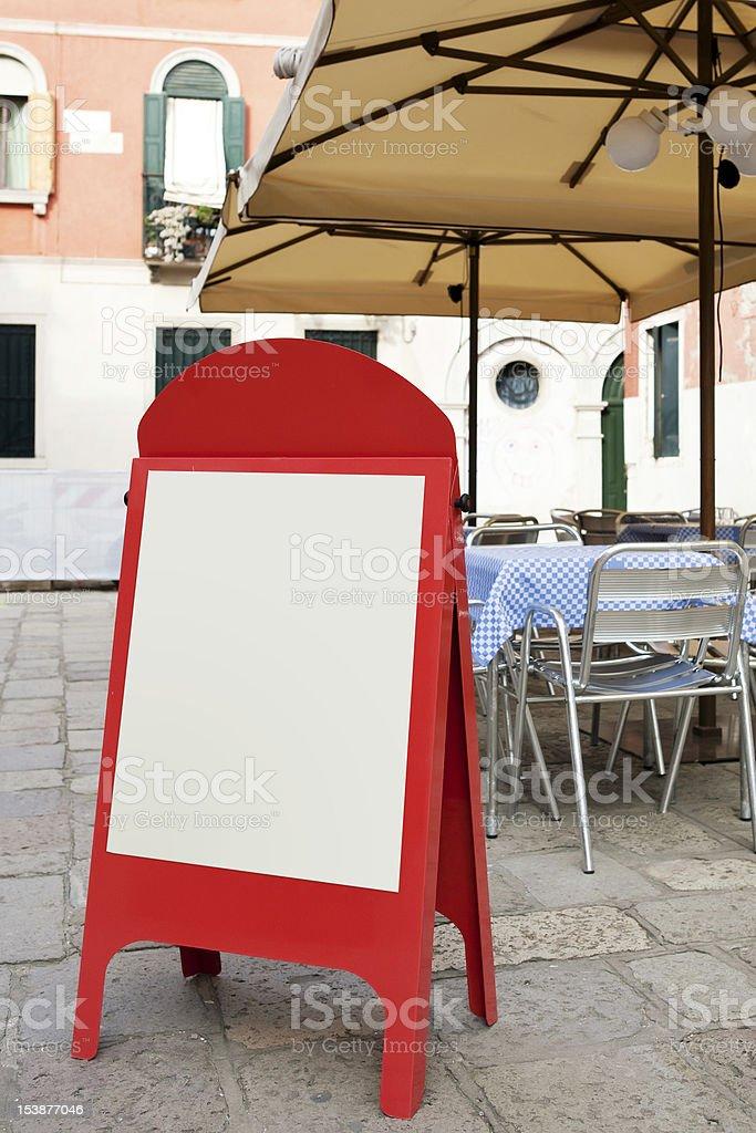 Blank menu board at street cafe royalty-free stock photo
