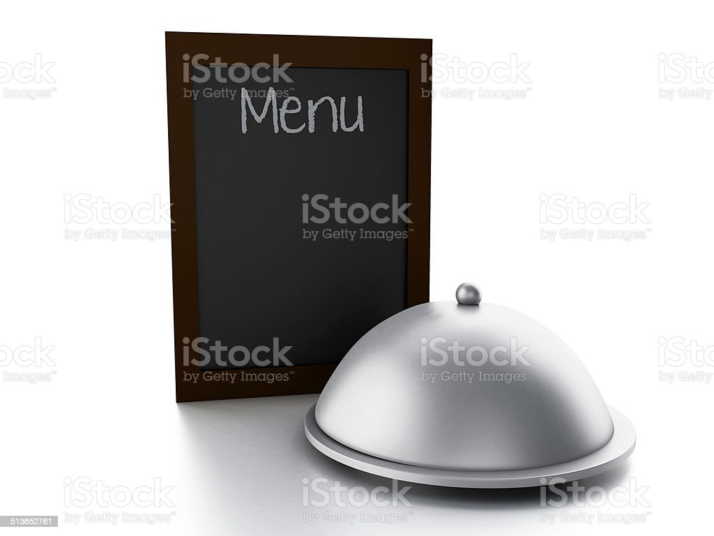 blank menu board, isolated white background stock photo