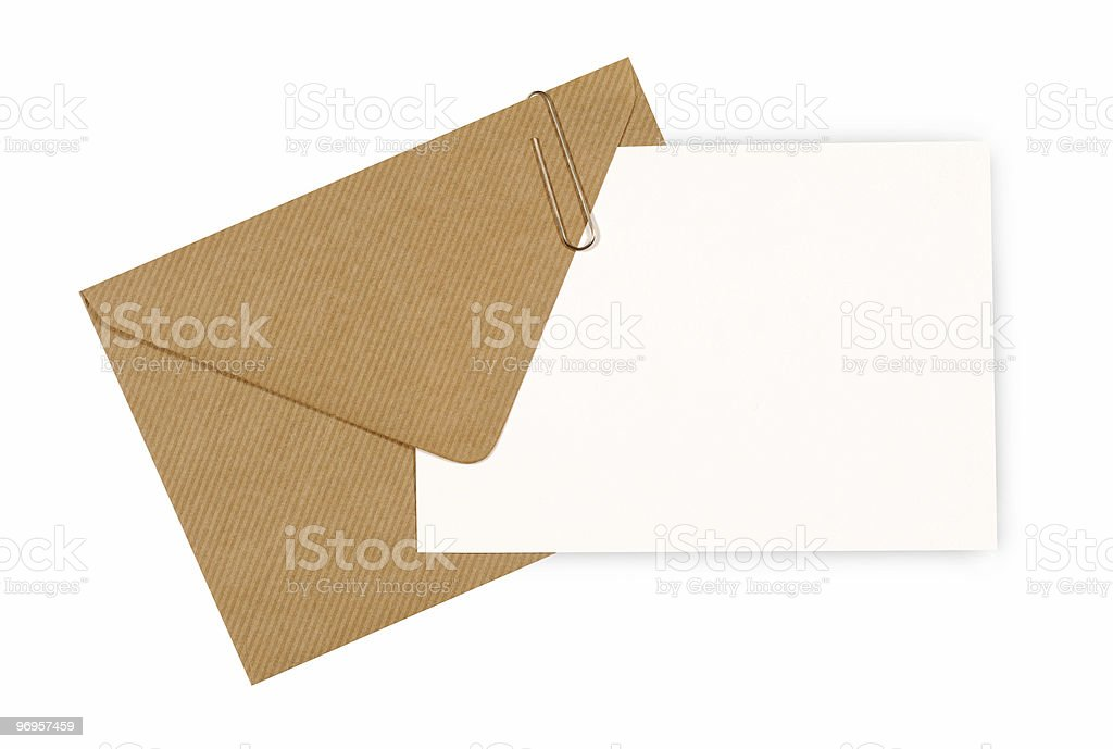Blank message card with brown envelope royalty-free stock photo