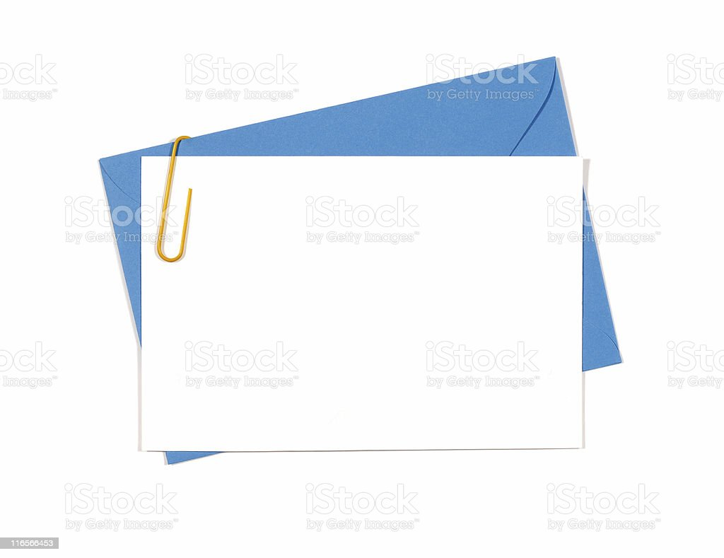 Blank message or invitation card with blue envelope stock photo