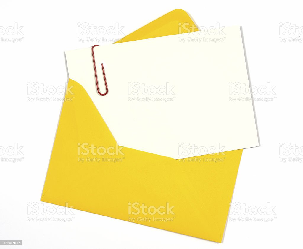 Blank message or invitation card with bright yellow envelope royalty-free stock photo