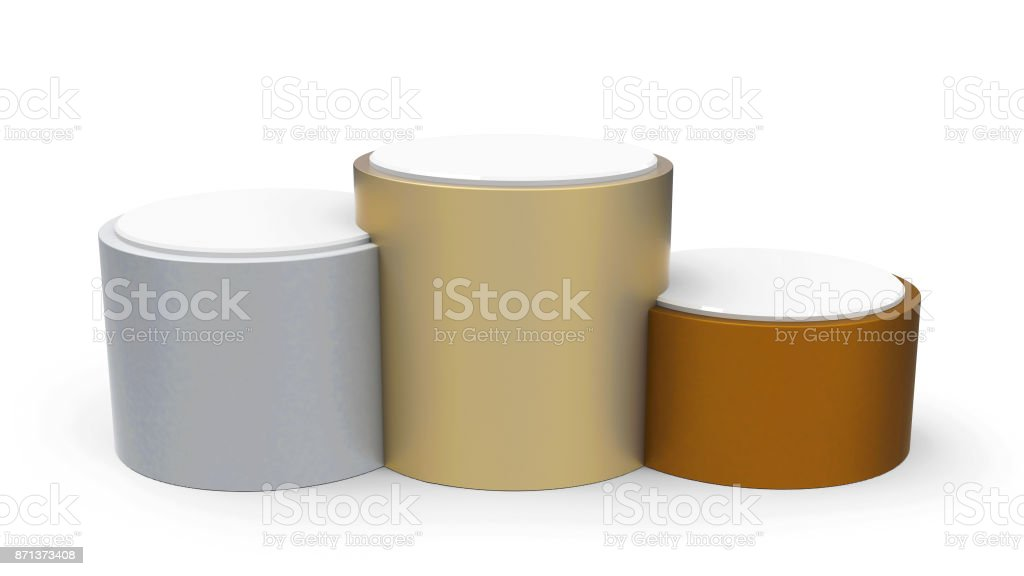 Blank metal cylinder podium stock photo