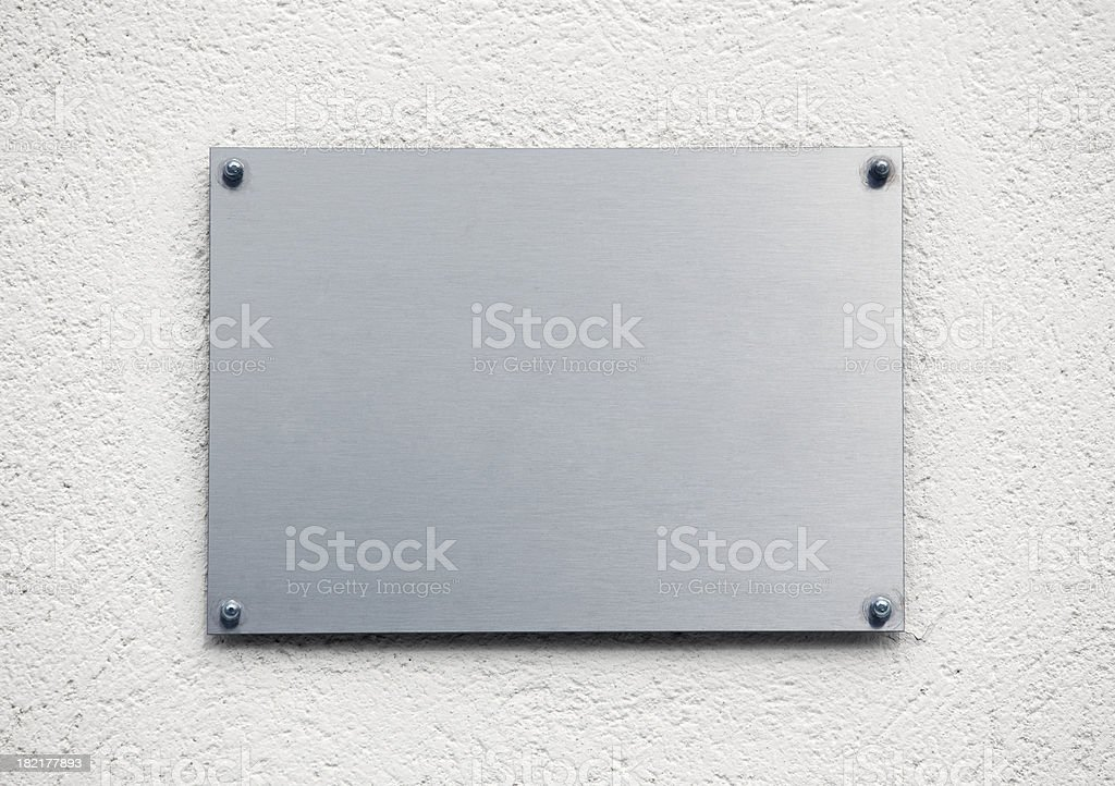 Blank metal plaque stock photo