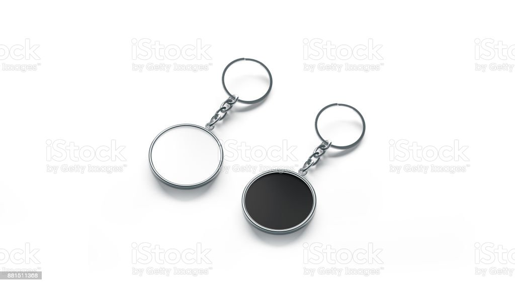 Blank Metal Round Black And White Key Chain Mock Up Stock
