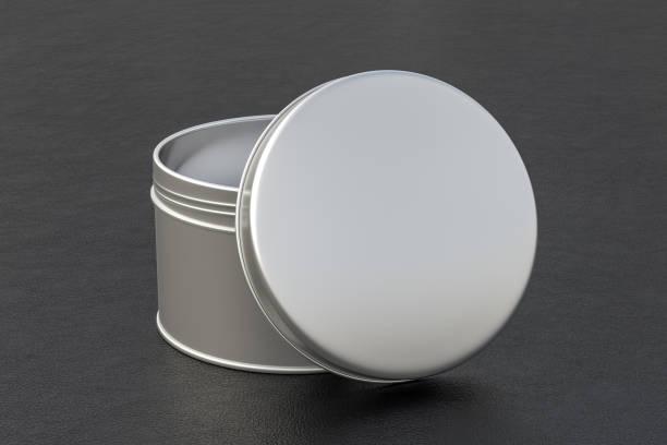 leere dose behälter aus metall runde box - aluminiumkiste stock-fotos und bilder