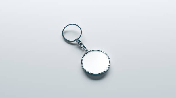 blank metal round white key chain mock up isometric view - advertising isometric stock pictures, royalty-free photos & images