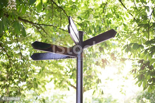 istock Blank metal signpost on green background 673386868