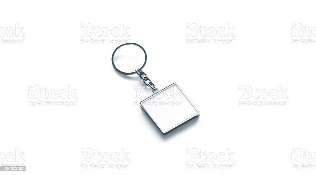 Blank Metal Square White Key Chain Mock Up Side View Stock