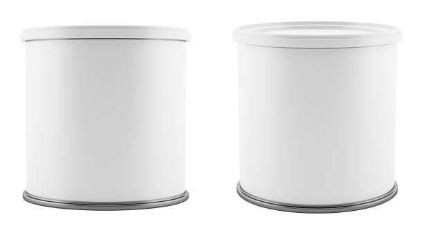 blank metal tin can with white plastic lid isolated on white background stock photo