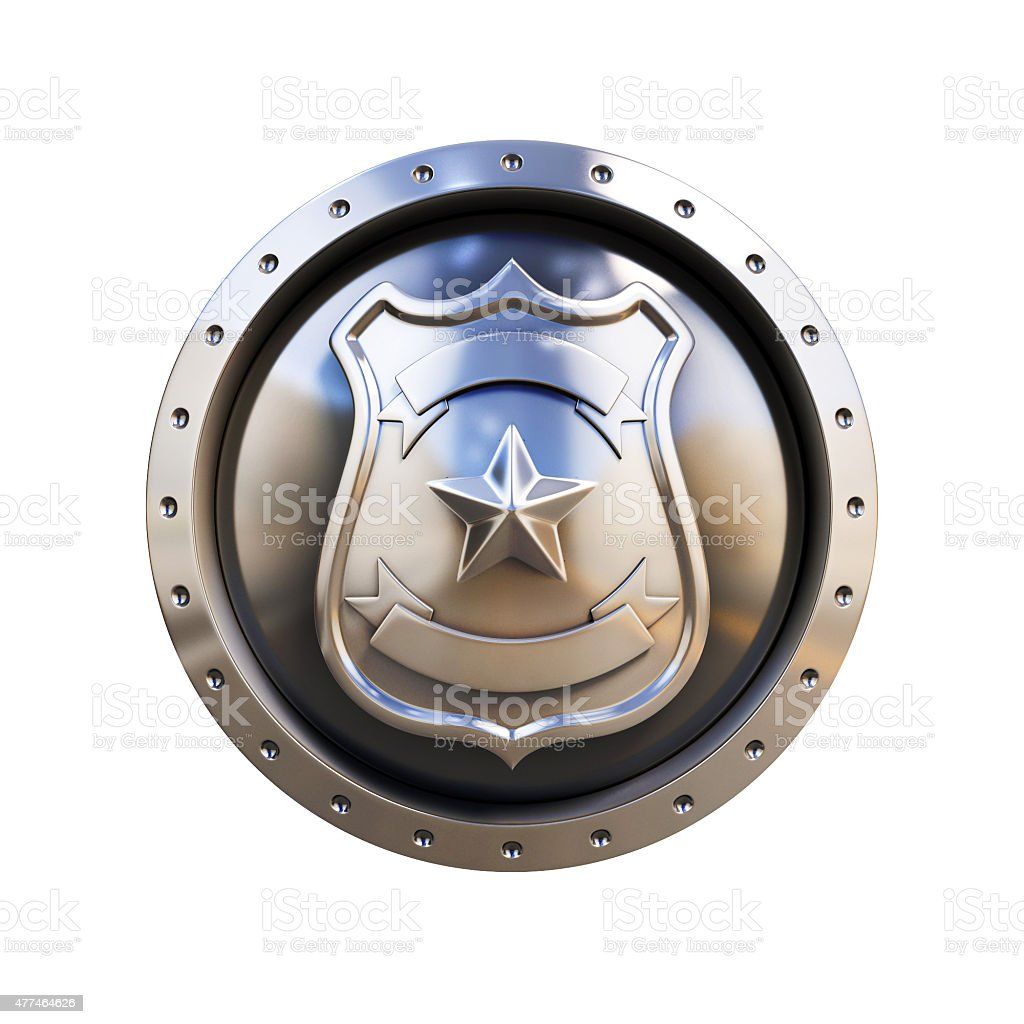 blank metallic 3d badge stock photo