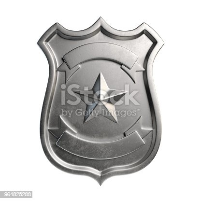 istock Blank metallic badge, silver emblem, coat of arms with copy space 964825288