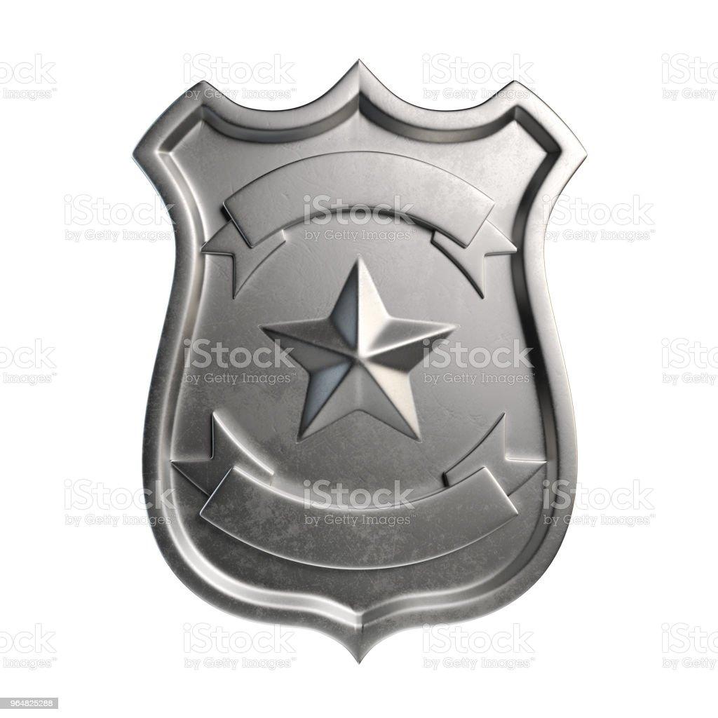 Emblema insignia metálica en blanco, plata, capa de brazos con espacio de copia - foto de stock