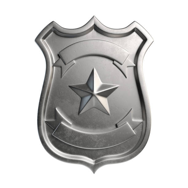 Blank metallic badge, silver emblem, coat of arms with copy space stock photo