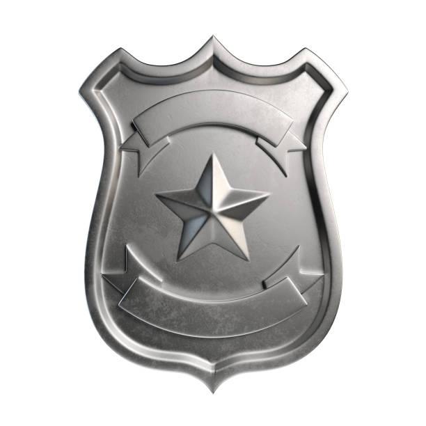 Leere metallische Abzeichen, Silber-Emblem, Wappen mit textfreiraum – Foto