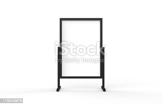 istock Blank metallic outdoor advertising stand, clear street signage board mock up template on isolated white background, 3d illustration 1130445679