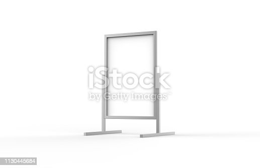 istock Blank metallic outdoor advertising stand, clear street signage board mock up template on isolated white background, 3d illustration 1130445684