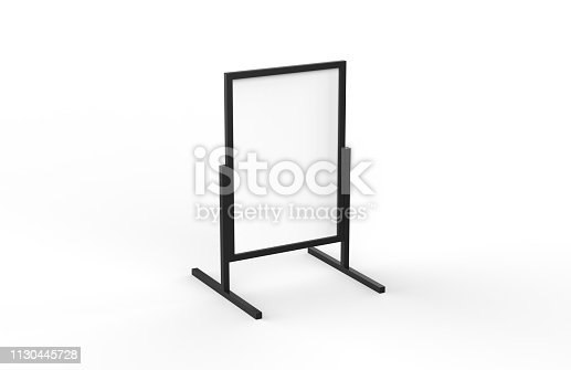 istock Blank metallic outdoor advertising stand, clear street signage board mock up template on isolated white background, 3d illustration 1130445728