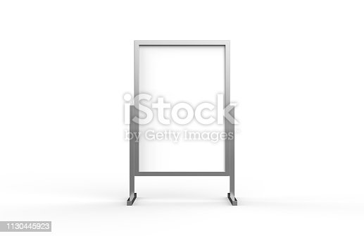 istock Blank metallic outdoor advertising stand, clear street signage board mock up template on isolated white background, 3d illustration 1130445923