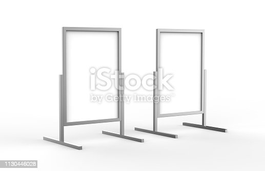 istock Blank metallic outdoor advertising stand, clear street signage board mock up template on isolated white background, 3d illustration 1130446028