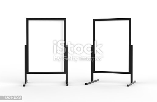 istock Blank metallic outdoor advertising stand, clear street signage board mock up template on isolated white background, 3d illustration 1130446095