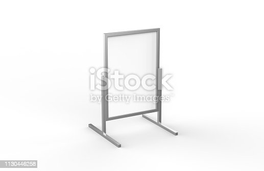 istock Blank metallic outdoor advertising stand, clear street signage board mock up template on isolated white background, 3d illustration 1130446258