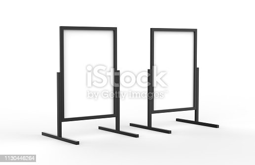 istock Blank metallic outdoor advertising stand, clear street signage board mock up template on isolated white background, 3d illustration 1130446264