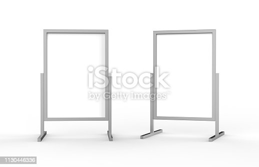 istock Blank metallic outdoor advertising stand, clear street signage board mock up template on isolated white background, 3d illustration 1130446336