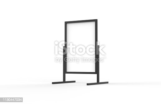 istock Blank metallic outdoor advertising stand, clear street signage board mock up template on isolated white background, 3d illustration 1130447034