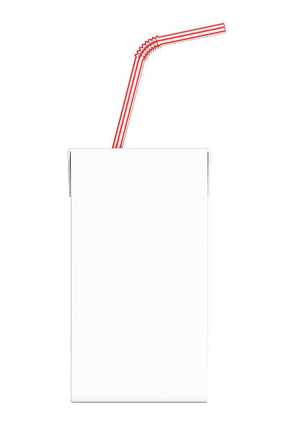 Blank Milk or Juice Carton Box with Red Striped Straw. - Photo